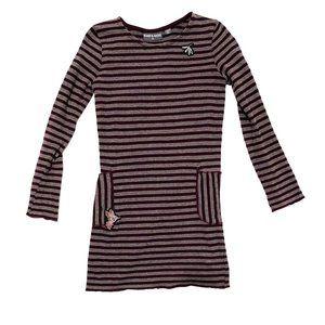 Romy & Aksel Maroon Striped Sweater Dress